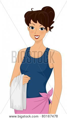 Illustration of a Woman Wearing a One Piece Bathing Suit