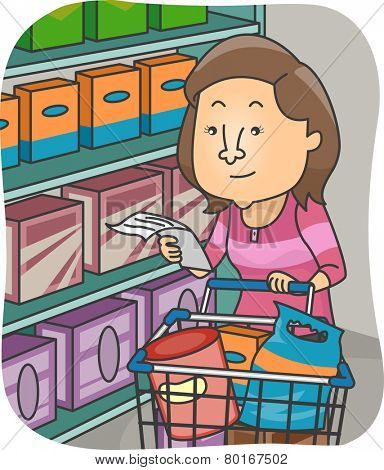 Illustration of a Woman Checking Her List While Shopping for Groceries