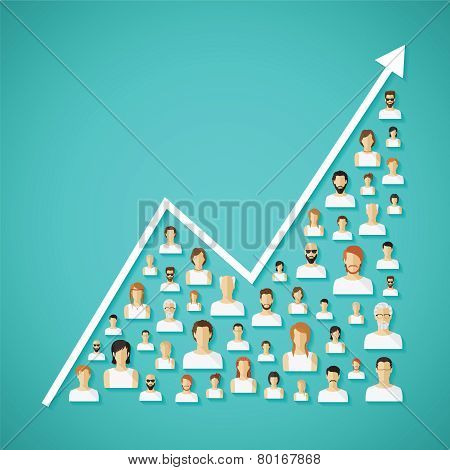 Vector Social Network Population And Demography Growth Concept.