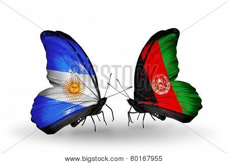 Two Butterflies With Flags On Wings As Symbol Of Relations Argentina And Afghanistan
