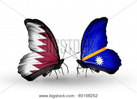Two Butterflies With Flags On Wings As Symbol Of Relations Qatar And Nauru