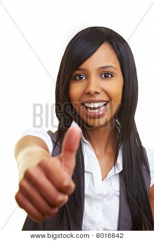 African Woman Holding Her Thumb Up