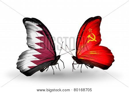 Two Butterflies With Flags On Wings As Symbol Of Relations Qatar And Soviet Union