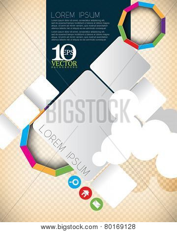 eps10 vector cartoon geometric rectangle objects and multicolored nonagon ring with cloud elements background design