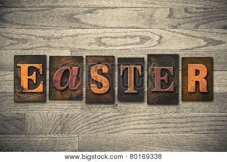 Easter Concept Wooden Letterpress Type