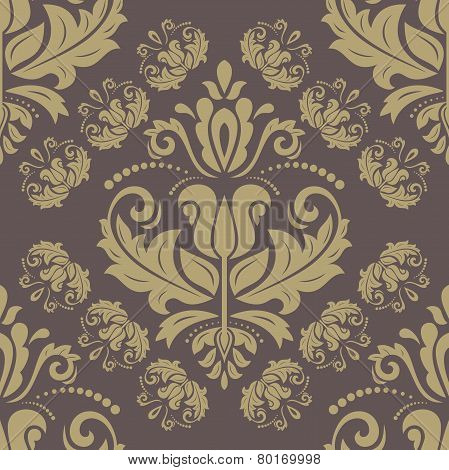 Wallpaper in the style of Baroquen. Abstract Vector Background. Brown and Golden Colors