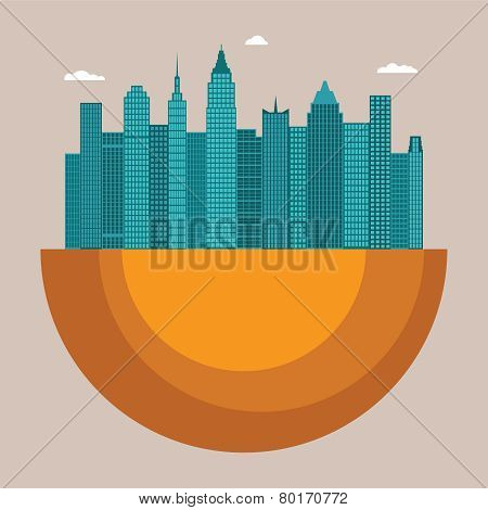 Cityscape Vector Illustration Concept With Office Buildings And Skyscrapers