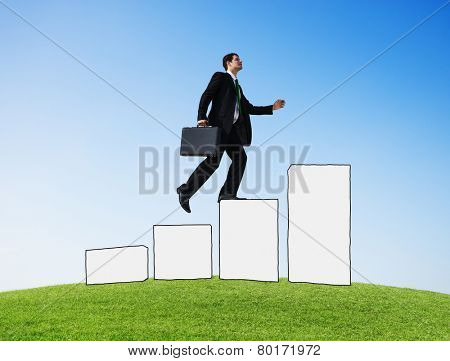 Businessman Moving Up Development Growth Success Goal Victory