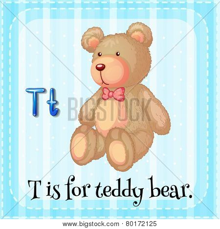 Illustration of a letter t is for teddy bear