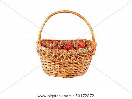 Strawberry in a wattled basket
