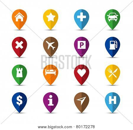 Collection of navigation icons - pins for maps.
