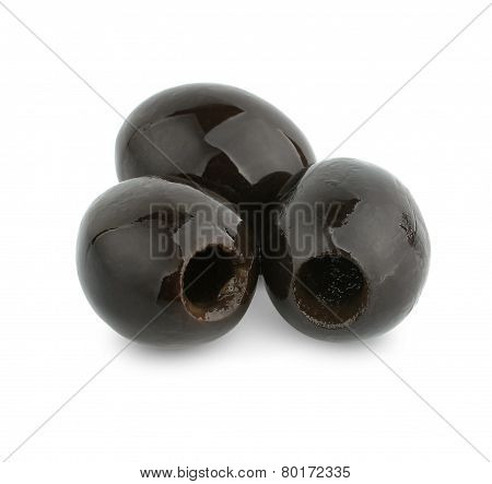 Heap Of Black Olives Isolated On White Background
