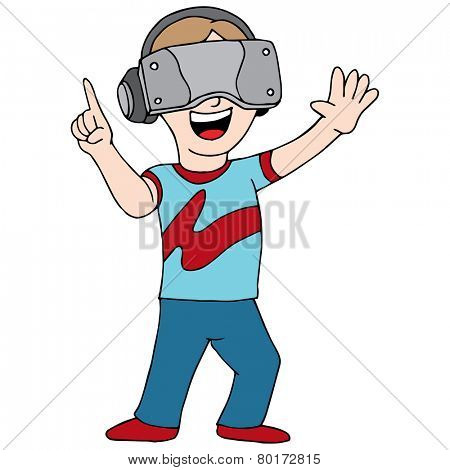 An image of someone playing a virtual reality video game.
