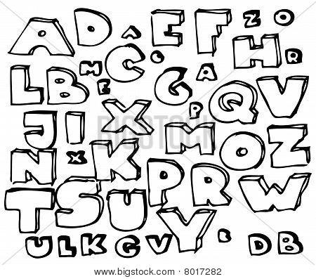 Alfabeto Doodle de mão desenhada