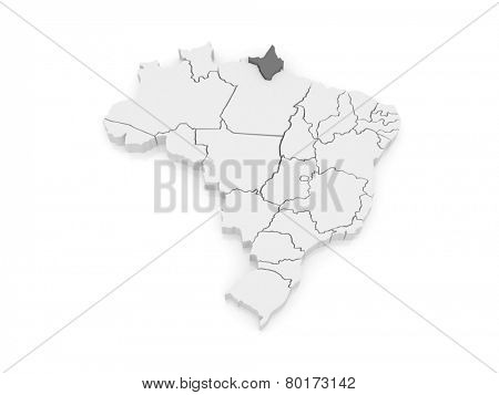Map of Amapa. Brazil. 3d