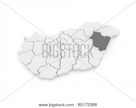 Map of Hajdu-Bihar. Hungary. 3d