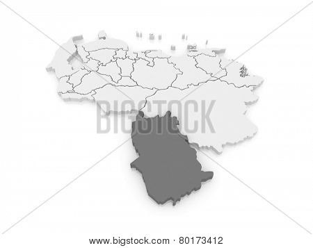 Map of Amazonas. Venezuela. 3d