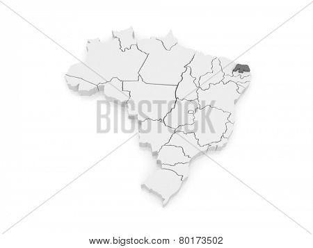 Map of Rio Grande do Norte. Brazil. 3d