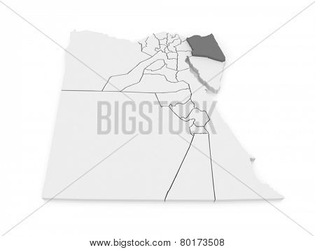 Map of North Sinai (Shimalov Sina). Egypt. 3d