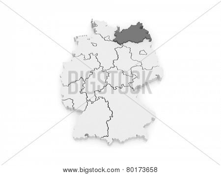 Map of Mecklenburg-Western Pomerania. Germany. 3d