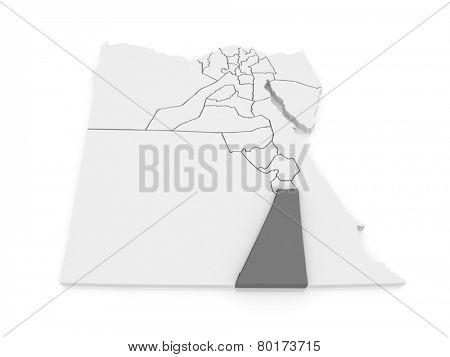 Map of Aswan. Egypt. 3d