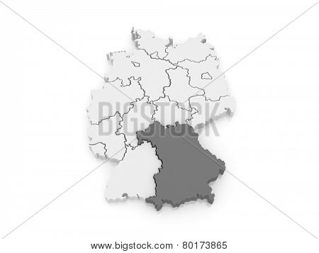 Map of Bavaria. Germany. 3d