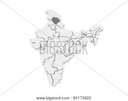 Map of Himachal Pradesh. India. 3d