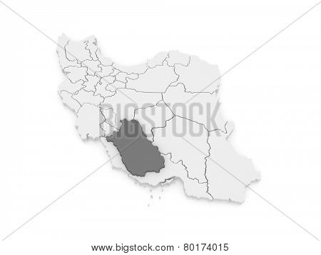 Map of Farce. Iran. 3d
