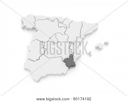 Map of Murcia. Spain. 3d