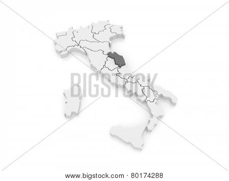 Map of Marche. Italy. 3d