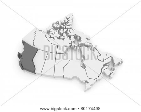 Map of British Columbia. Canada. 3d
