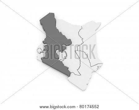 Map of Rift Valley. Kenya. 3d