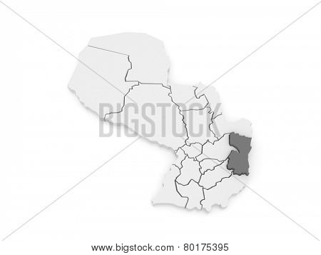 Map of Alto Parana. Paraguay. 3d