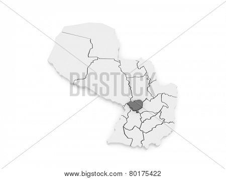 Map of Cordillera. Paraguay. 3d