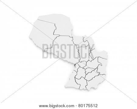 Map of Metropolitan Borough Asuncion. Paraguay. 3d
