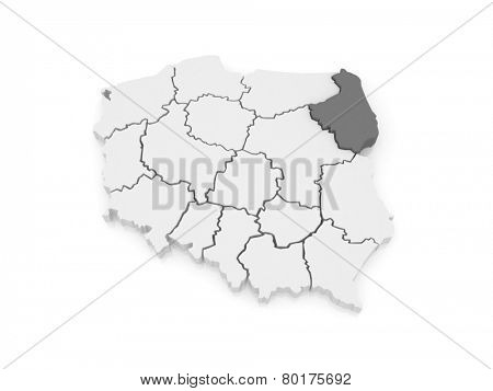 Map of Podlasie. Poland. 3d