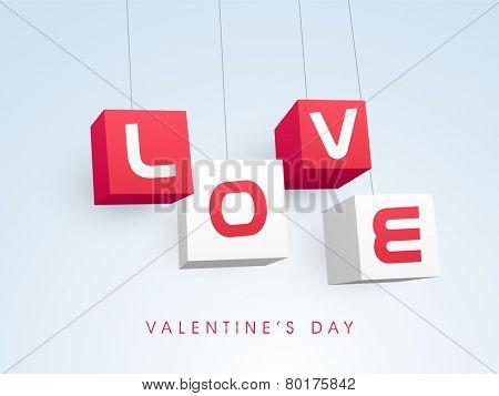 Stylish text Love on hanging blocks for Happy Valentine's Day celebration on shiny sky blue background.