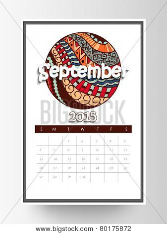 September month calendar with colorful floral design for New Year 2015.