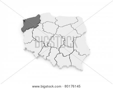 Map of Western Pomeranian. Poland. 3d