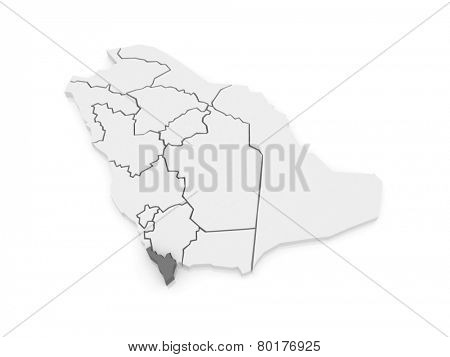 Map of Jizan. Saudi Arabia. 3d