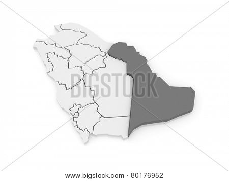 Map of East. Saudi Arabia. 3d