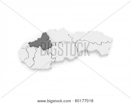 Map of Trencin Region. Slovakia. 3d