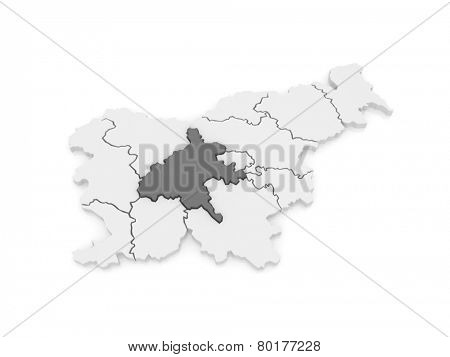 Map of Sredneslovensky region Central Slovenia. Slovenia. 3d