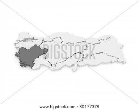 Map of Aegean. Turkey. 3d