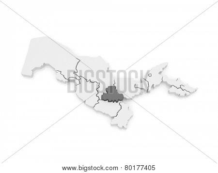 Map of Samarkand region. Uzbekistan. 3d