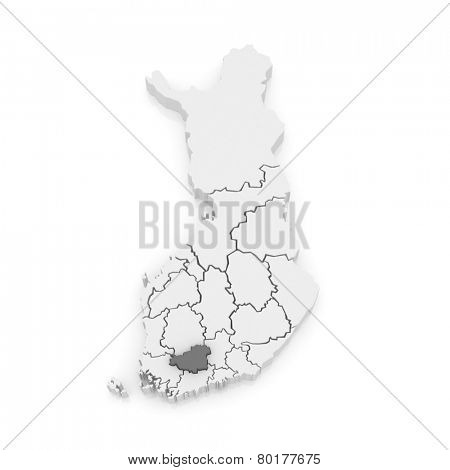 Map of Tavastia. Finland. 3d