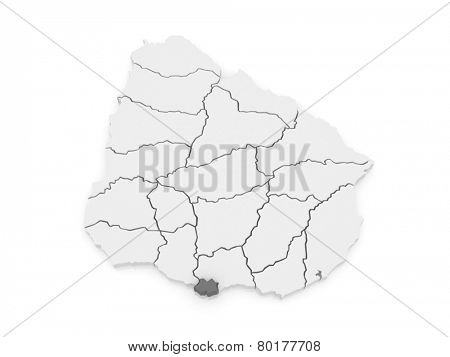 Map of Montevideo. Uruguay. 3d
