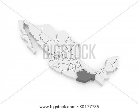 Map of Oaxaca. Mexico. 3d