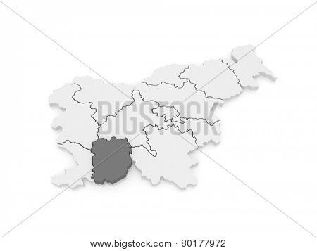 Map of Vnutrennekarstsky Region (Inner Carniola Kras-regia). Slovenia. 3d