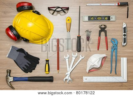 Various construction tools on floor